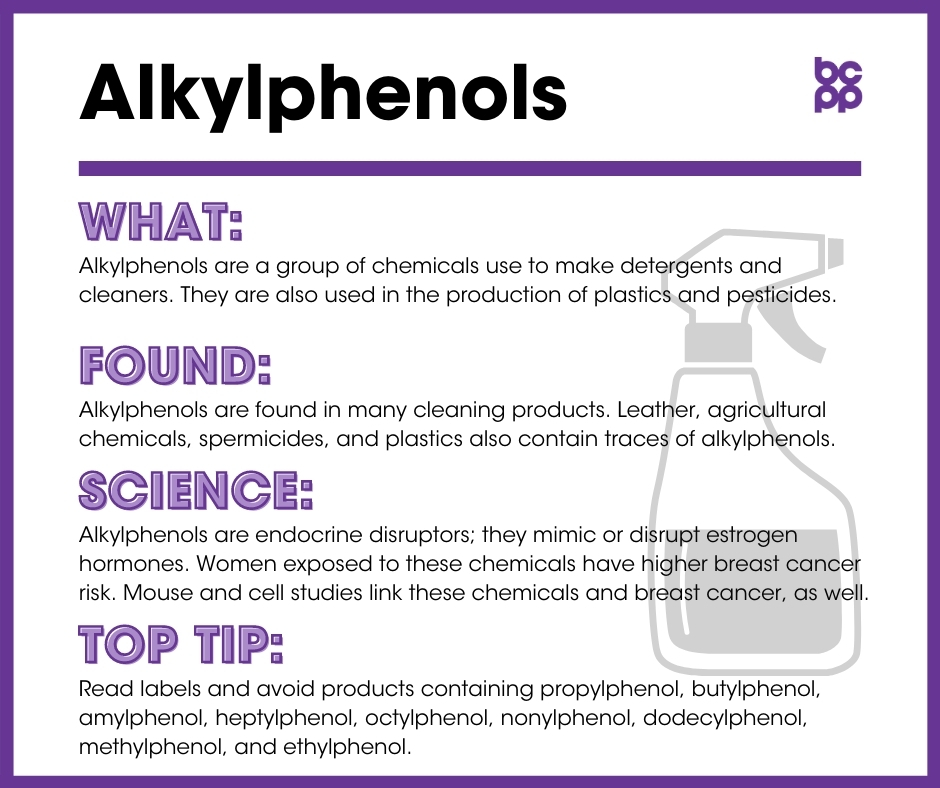 Alkylphenols breast cancer prevention tip card infographic
