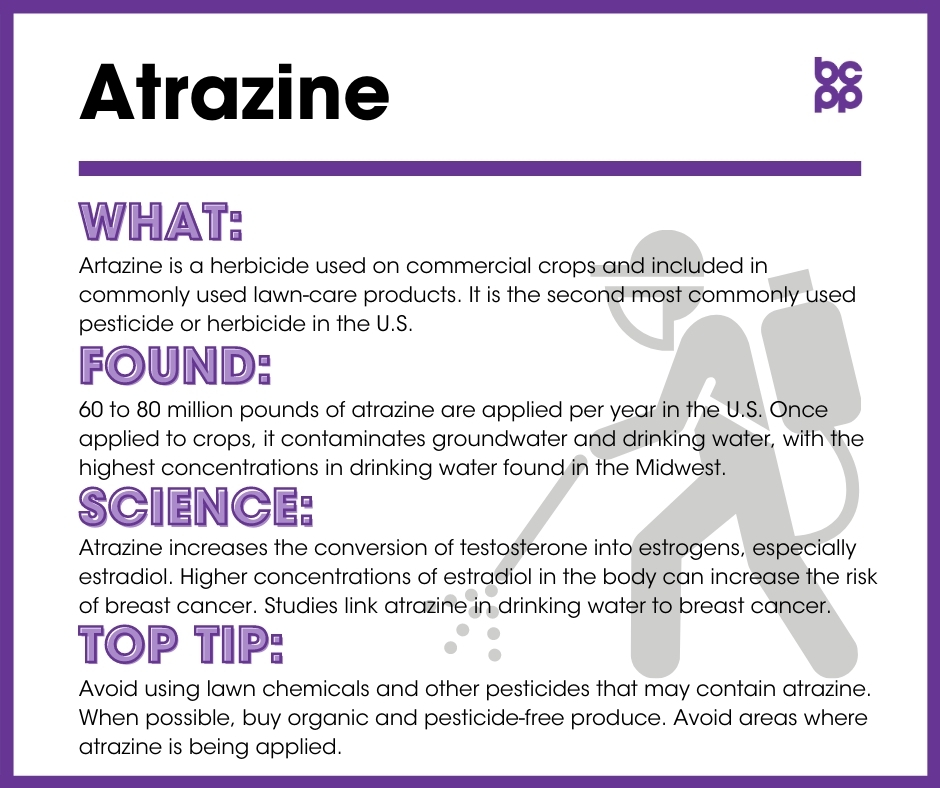 Atrazine breast cancer prevention tip card infographic