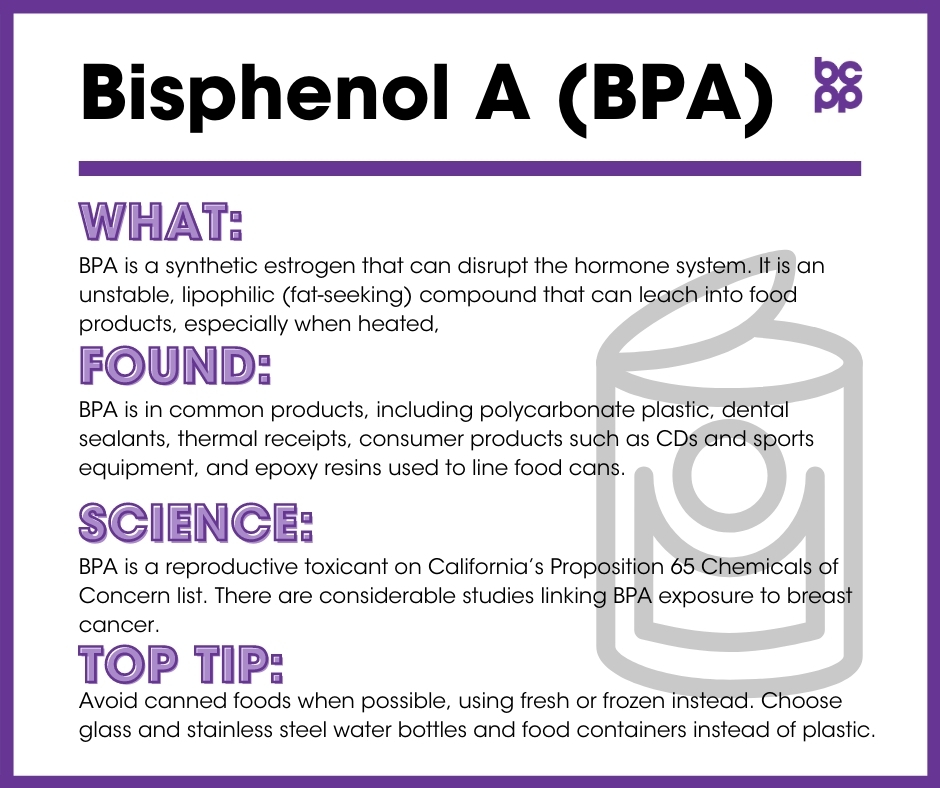 BPA breast cancer prevention tip card infographic