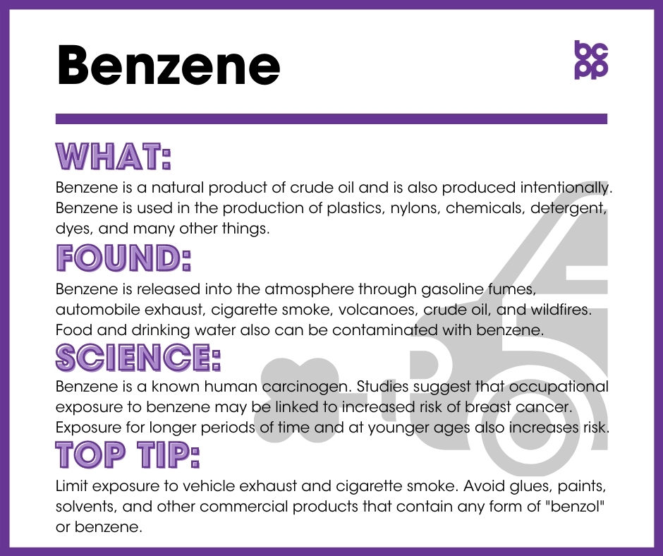 Benzene breast cancer prevention tip card infographic