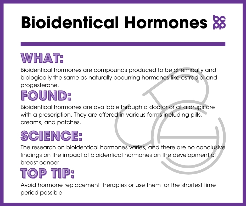 Bioidentical Hormones breast cancer prevention tip card infographic