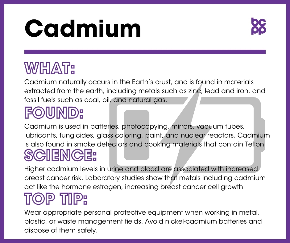 Cadmium breast cancer prevention tip card infographic