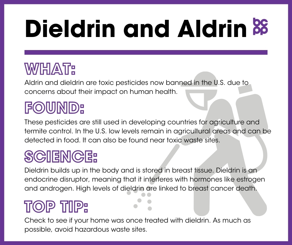 Dieldrin and Aldrin breast cancer prevention tip card infographic