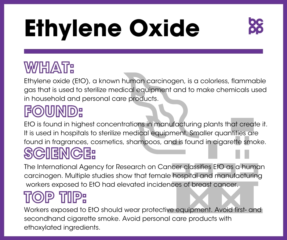 Ethylene Oxide breast cancer prevention tip card infographic