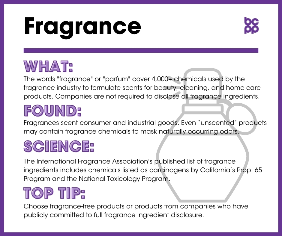Fragrance breast cancer prevention tip card infographic