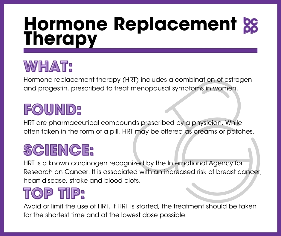 HRT breast cancer prevention tip card infographic