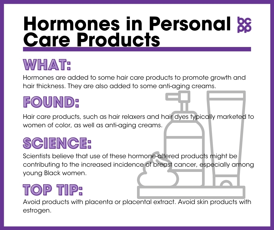 Hormones in Personal Care Products breast cancer prevention tip card infographic