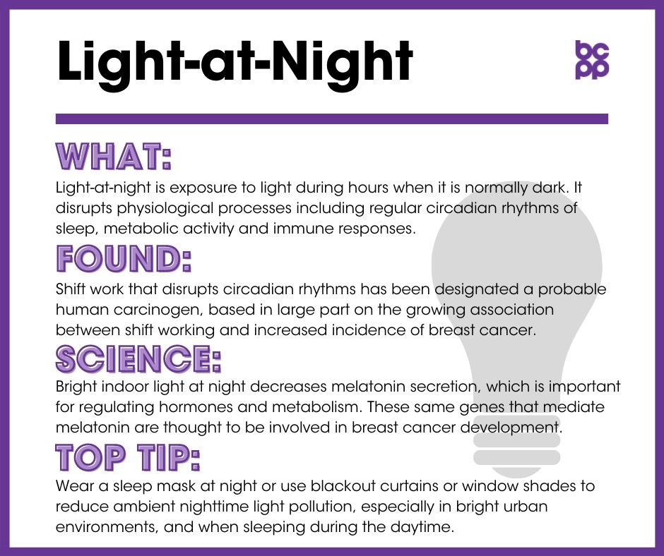Light-at-Night breast cancer prevention tip card infographic
