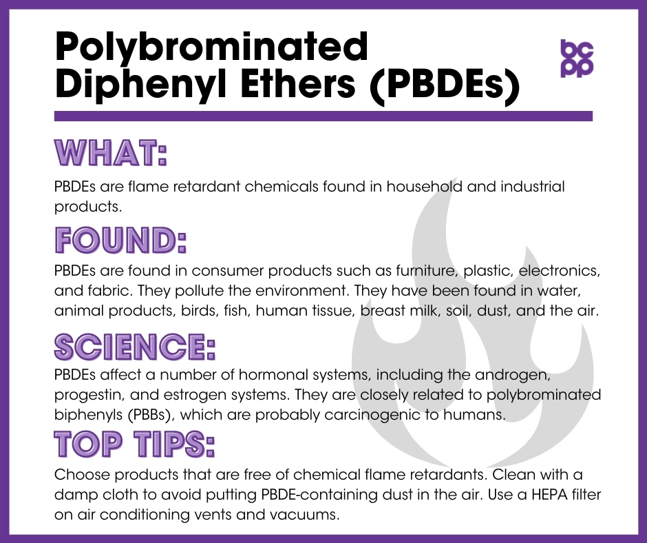 PBDEs breast cancer prevention tip card infographic