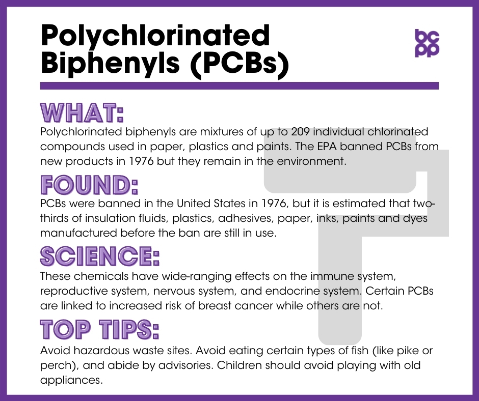 PCBs breast cancer prevention tip card infographic