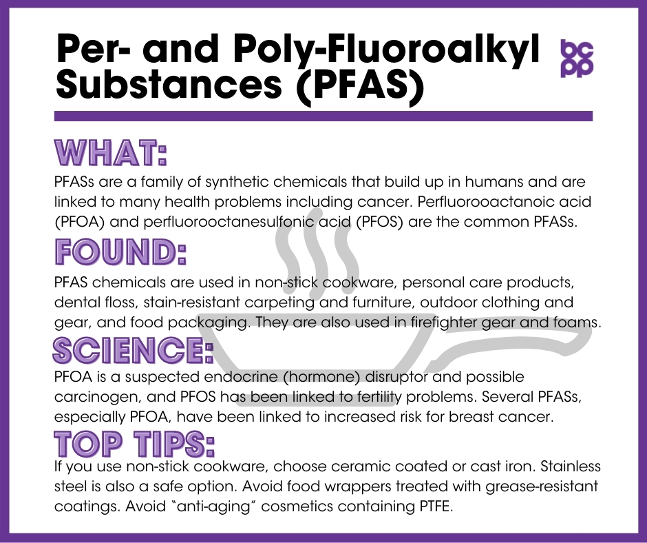 PFAS breast cancer prevention tip card infographic