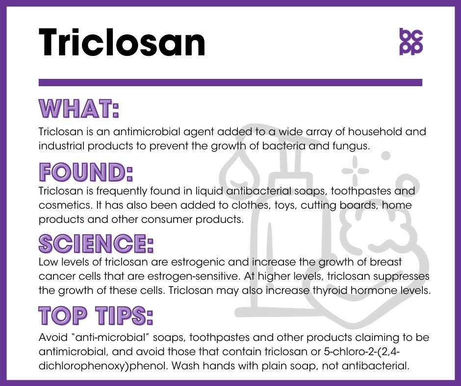 Triclosan breast cancer prevention tip card infographic